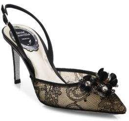 Rene Caovilla Embellished Lace Slingback Pumps #fashion #shoes