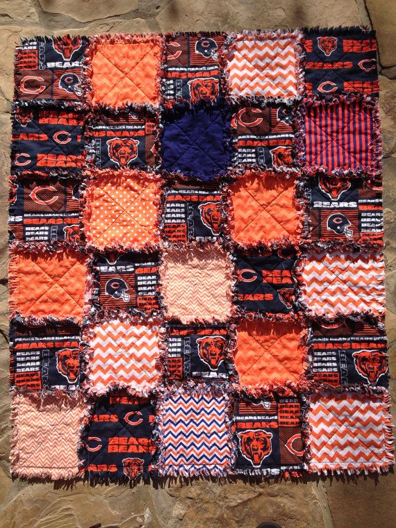 Chicago Bears rag quilt  Chicago Bears baby blanket by BlueSheepBoutique