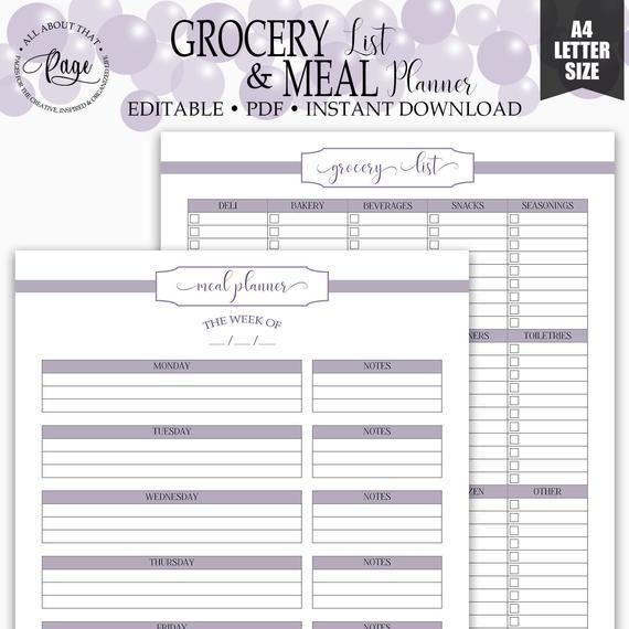 Editable Grocery List Meal Planner Printable Shopping List