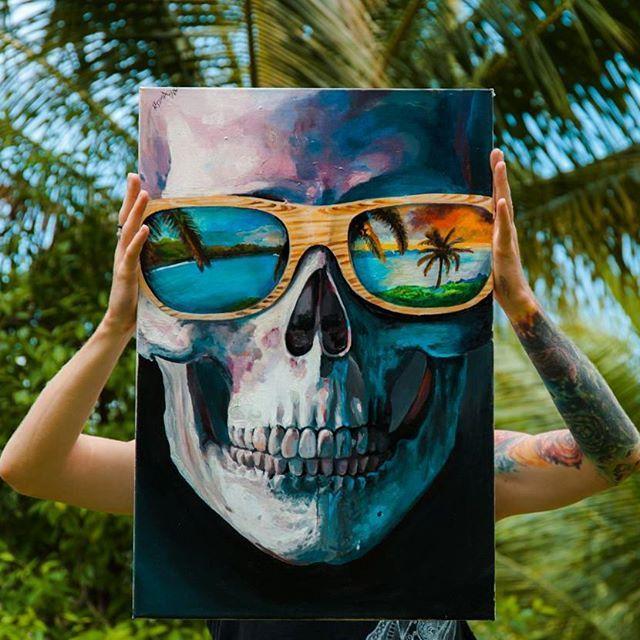 #skull #skullart #art #acrylic #canvas #painting #realistic #woodenglasses #tropical #mirror #palms #realisticart #artwork #thailand #kohphangan #skullsketch #tattooidea #tattoo