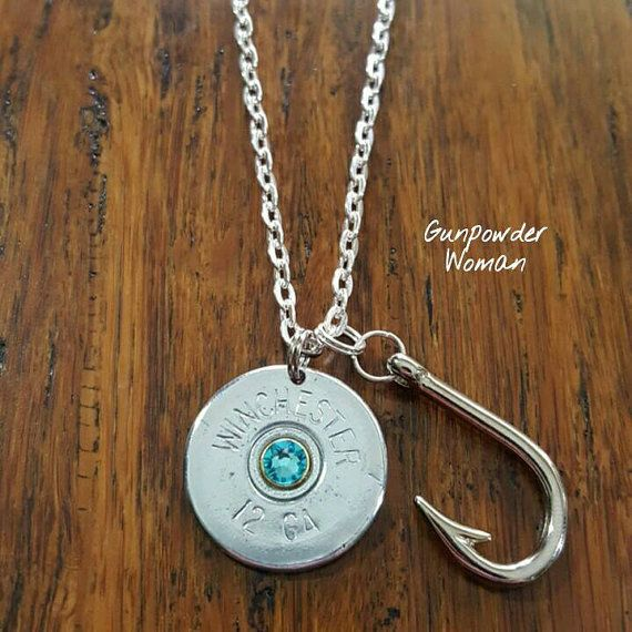 FISH HOOK 12 Gauge Shotgun Shell Necklace by by GunPowderWoman