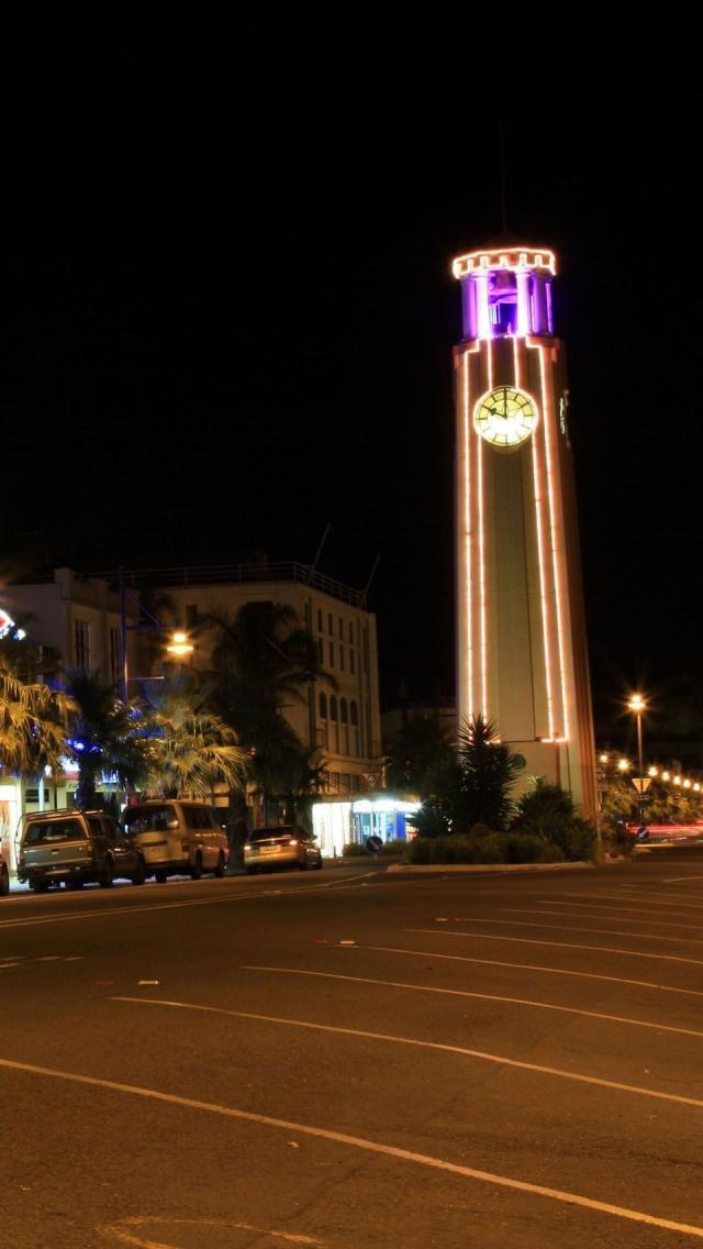 Gisborne Clock Tower, Night, Gisborne Region, North Island, New Zealand