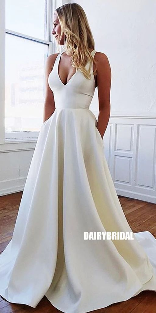 Attractive V-neck Backless A-line Satin Easy Marriage ceremony Gown, FC3797