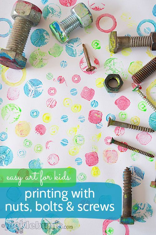Printing with Nuts, Bolts and Screws- a great idea for re-purposing fine motor activity trays! Children can learn about items by manipulating the bolts and screws, and then learn more about the shapes of each in a more abstract way. This is similar to a child working with the geometric solids, and then comparing their bases to the geometric cards.