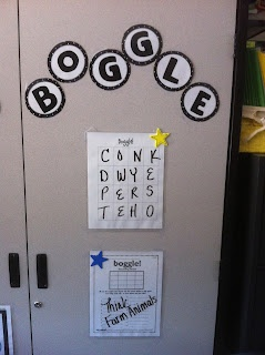 I Love My Classroom: Boggle on a cabinet door - just laminate a grid and change up the letters each week.