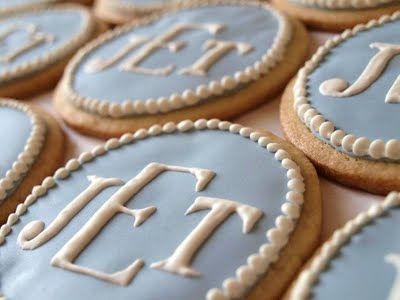 Monogrammed Cookies - would be cute for bride's future initials at the shower