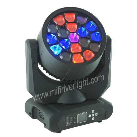 F‐003 - 19*15W RGBW 4in1 LED Beam Moving Head ‐ Beam Angle: 6 Degrees ‐ Lamp board plate can rotate continuous 360° to make amazing effect. DMX Channel: 18 Channels ‐ Speed controllable ‐ multiple built‐in programs ‐ Built‐in with 51 static effects, 51 dynamic effects ‐ Special LENS, unique design to make amazing effect