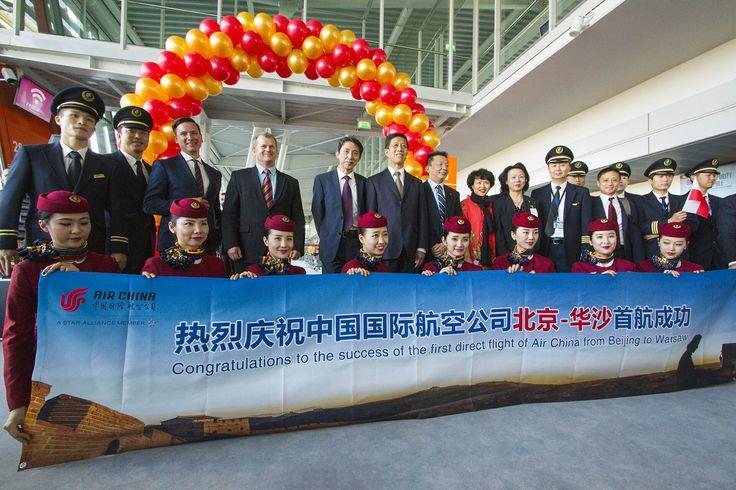 21 września 2016 - powitanie linii Air China w Warszawie. Fot. Andrzej Klewiado