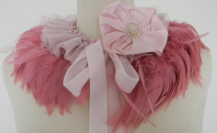 Dusty Pink and Rose Feather Collar, feather collar