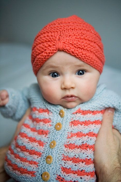 Knitted baby turban...the cuteness: it overwhelms me.