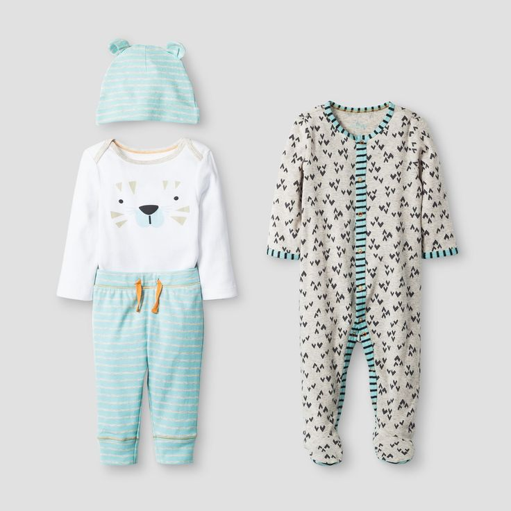 • 4-piece baby ensemble<br>• Long-sleeve bodysuit with playful tiger graphic<br>• Soft striped pants with drawstring waist<br>• Matching hat with rolled brim and ear detail<br>• Long-sleeve footed coveralls with snaps<br><br>Make the morning routine easy with the Baby Boys' 4-Piece Tiger Set by Baby Cat & Jack. This coordinated baby outfit set includes an adorable polar bear bodysuit, striped pants, a mat...