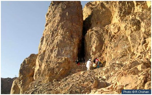 Cave of Uhud This naturally formed cave, on the side of Mount Uhud facing Masjid-e-Nabwi is where the Prophet (peace and blessings of Allah be on him) took refuge after being wounded during the Battle of Uhud. He was carried there on the back of Talha (may Allah be pleased with him).