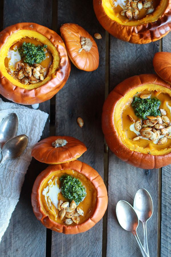 Roasted Garlic Sage Pesto Pumpkin Soup with Spicy Fried Pumpkin Seeds. Want to make it vegan? Substitute vegetable stock for the chicken stock, olive oil for butter and omit cheese (or try Daiya cheese).