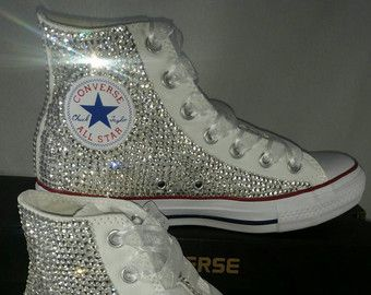 Full Bling Bridal Converse- Wedding Converse- Bling & Pearls Custom Converse Sneakers- Personalized Chuck Taylors- AllStar Converse Sneakers