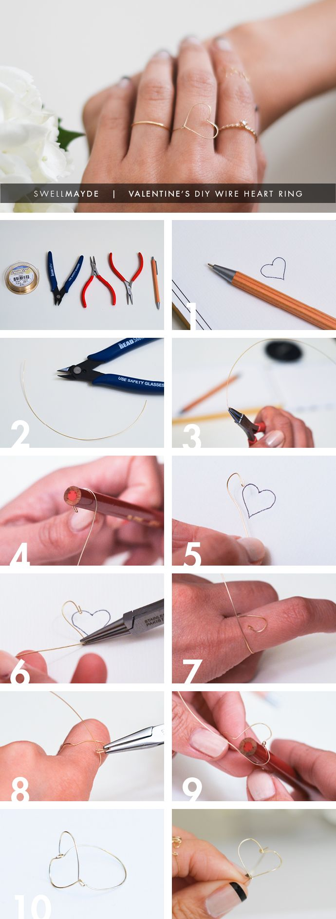 DIY Wire Heart Ring - learn how to make here: http://www.swellmayde.com/2013/01/valentines-diy-wire-heart-ring.html #flowergirl #diy #valentinesday