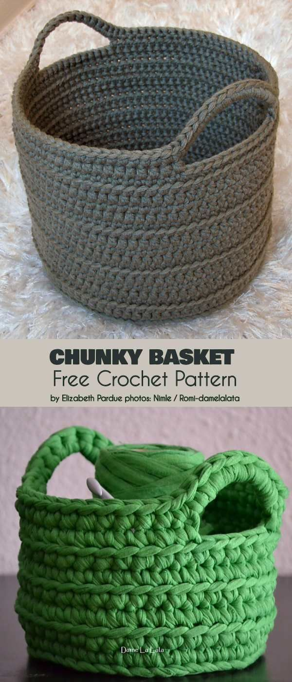 Chunky Basket Free Crochet Padrão