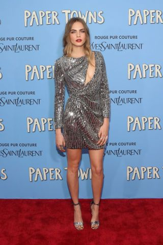 """6 of the best looks from last night's NYC """"Paper Towns"""" premiere: Cara Delevingne in Saint Laurent."""