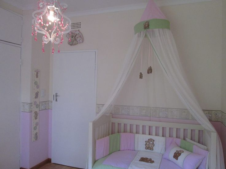 Tatty teddy nursery decor, complements beautifully with white wash cot and compactum. Linen, mosquito nets, wall borders available in SA. please send us a mail to orders@borderbout... for more info and prices. www.facebook.com/borderboutique.co.za