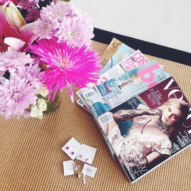 Fresh fashion magazines, flowers & jewels for a full day of social media shooting at MKD HQ.  #socialmedia #flatlay #bts