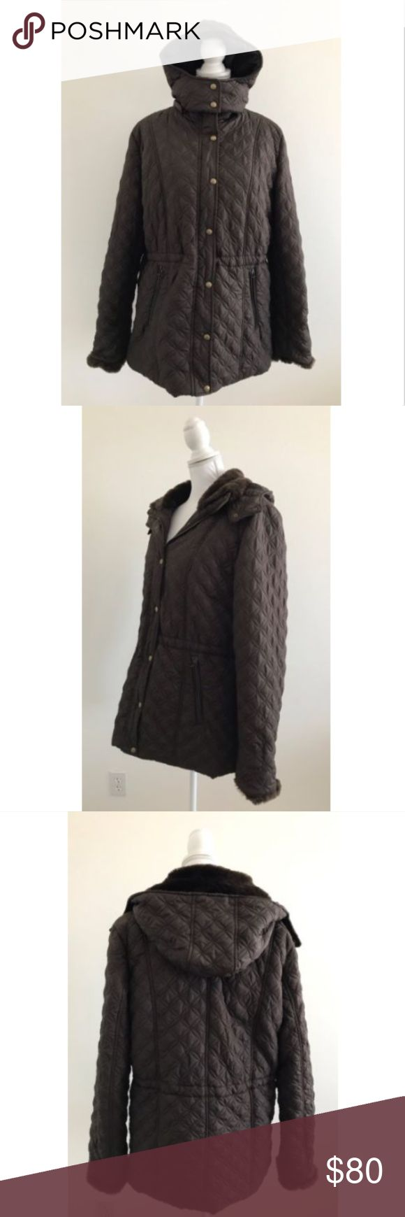 """Andrew Marc Brown Quilted Faux Fur Hoodie Jacket Gently used, no holes, no stains. Beautiful brown quilted coat jacket, circle diamond design, snap button and zipper closures, 2 front zippered pockets, detachable hoodie, soft faux fur lining.    Measurements (laying flat) Width (pit to pit): 22.5"""" Length (top to bottom): 30.5"""" Sleeve length (shoulder seam to bottom of sleeve): 27.5"""" Andrew Marc Jackets & Coats Puffers"""