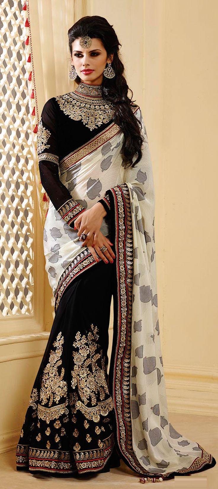 Black colour saree images  saree  faux georgette art silk border lace machine
