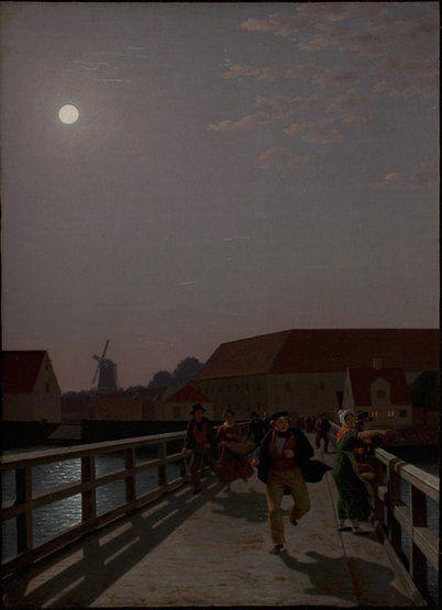 Christoffer Wilhelm Eckersberg, Langebro, Copenhagen, in the Moonlight, with Running Figures, 1836