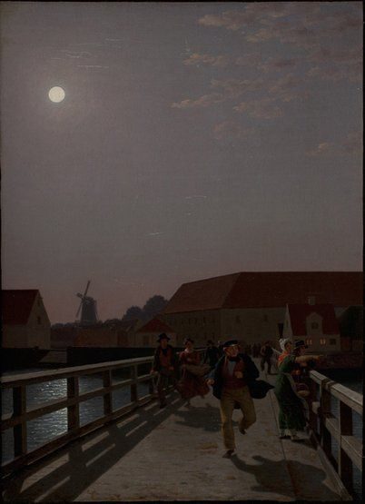 Christoffer Wilhelm Eckersberg, Langebro, Copenhagen, in the Moonlight, with Running Figures, 1836