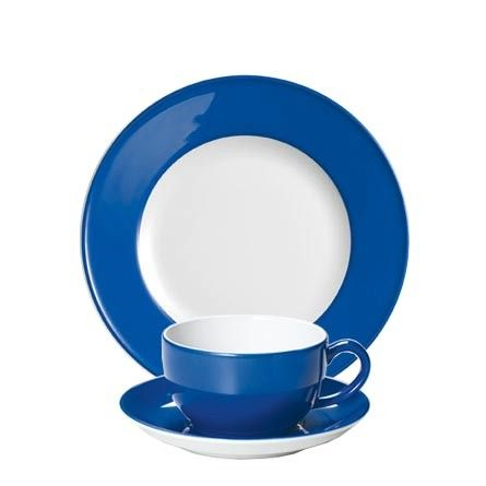 #Dibbern Solid Color Kornblume - Breakfast plate and cup – selected by http://munich-and-beyond.com/