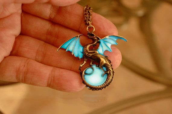 Glow in the dark Dragon Surrounding the Moon by Papillon9 on Etsy,