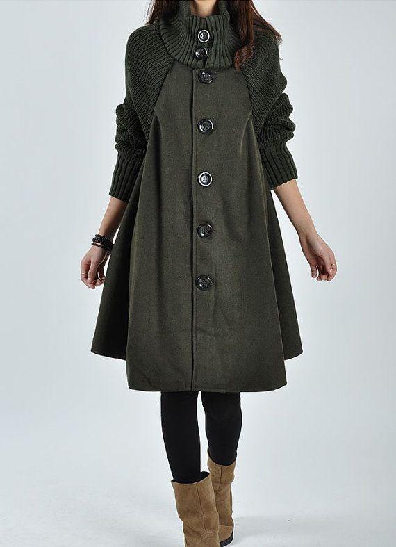 Ejército de lana verde de lana abrigo de lana del vestido de la chaqueta de lana Parkas blusa de lana capa suelta más tamaño Gabardina Windcheater cazadora windcoat