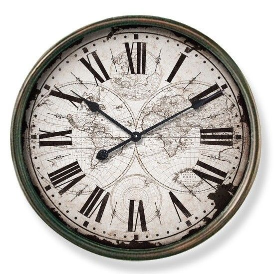 Large Round Metal Industrial 60cm Old World Wall Clock. Große UhrenWanduhren MetallwändeKüchengerätEsszimmer