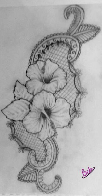 Hibiscus and lace/paisley tattoo design