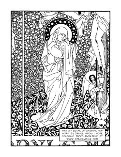 A Colouring Page Detail Of Crucifixion Scene By The Artist Daniel Mitsui