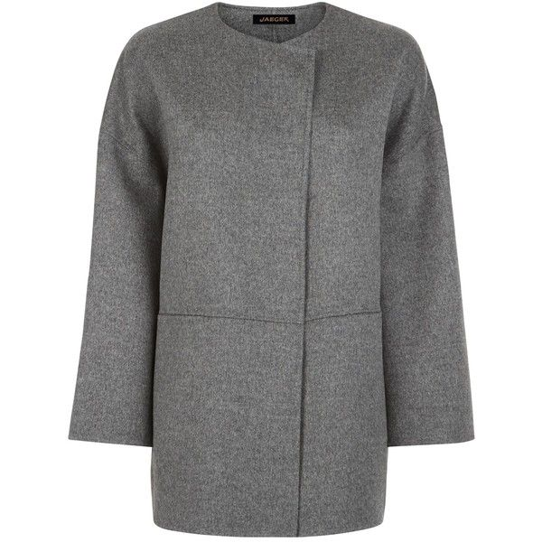 Jaeger Double-Faced Cape, Light Grey ($395) ❤ liked on Polyvore featuring outerwear, wrap cape coat, wool cape coat, wool cape, cape coat and wrap cape