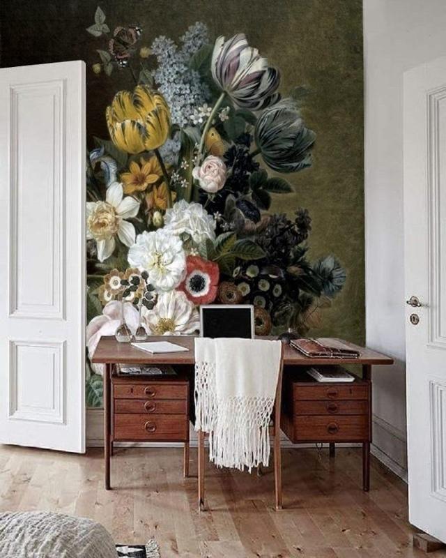 Diese Tapete Erinnert An Ein Stilleben Als Ölgemälde U2013 Gedeckte Farben,  Viele Blüten! Entdecke