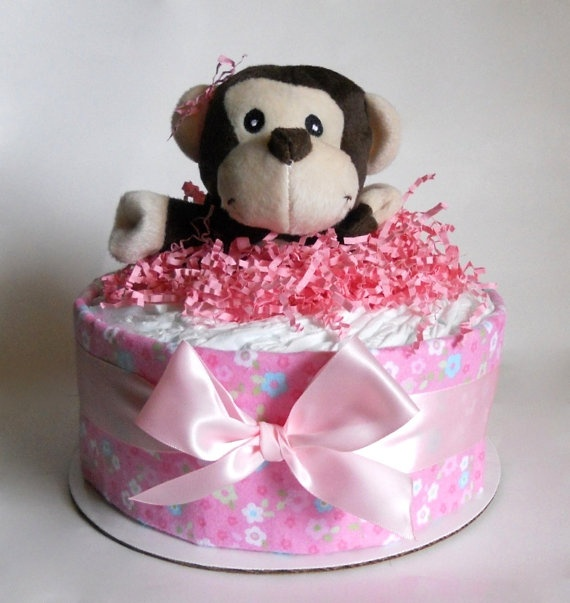 Baby Girl Monkey Diaper Cake Mini by DiaperCakeBoutique on Etsy, $25.00
