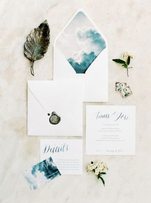 Pretty cloud inspired paper-suite: http://www.stylemepretty.com/2015/07/07/ethereal-countryside-wedding-inspiration/   Photography: Brancoprata - http://www.brancoprata.com/