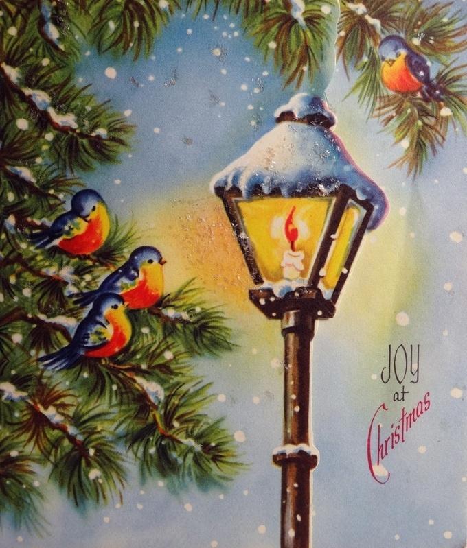 vintage Christmas card birds & streetlamp | Christmas images ...