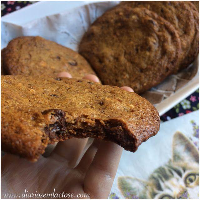 O Diário de Receitas Sem Lactose: Cookies de farinha de grão de bico com gotas de chocolate.Atenção alérgicos e intolerantes: receita sem leite, ovo, glúten e soja.