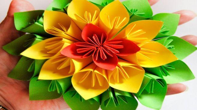 Origami Dersleri - Çin Çiçek Kusudama Tasarımı - Japon kağıt
