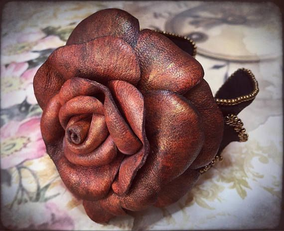 Bead embroidered cuff bracelet with leather rose by Gemsplusleather - 95.59EUR #Gemsforall #GemsPlusLeather #handmade #artisan #leather #rose #cuff #bracelet #beadembroidery
