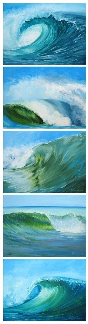 Jet dencre ~ 8 1/2 « x 11 » Fine art reproduction tirages de 5 de mes peintures originales de vague, comme indiqué dans la série. Spécifications : -sans acide, darchives -encres à pigments purs évalué à 200 ans Est livré dans une pochette protectrice de cristal claire. Titré et signé