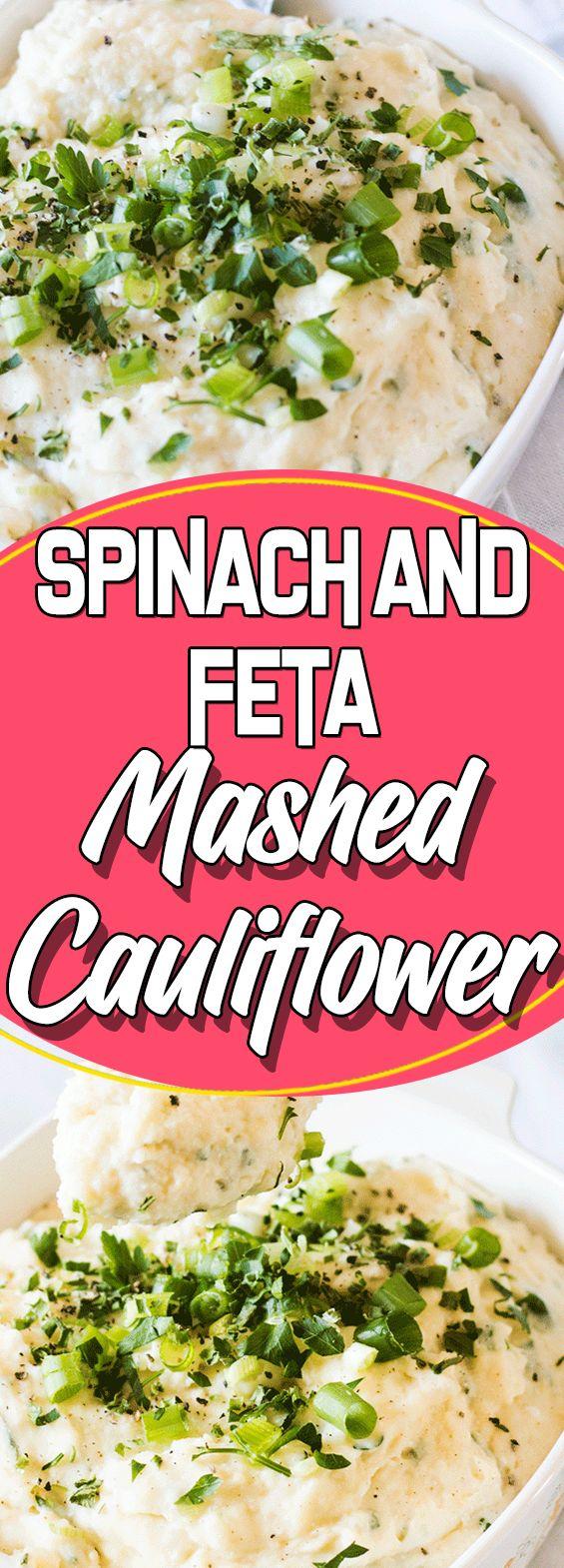 Spinach and Feta Mashed Cauliflower #healthyrecipes #copycatrecipe #easyrecipes #comfortfood #paleo #glutenfree