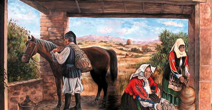 One of the classic wall paintings with the typical costumes of the farmers