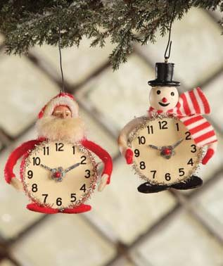 Vintage Christmas Time Ornaments | Bethany Lowe Snowman & Santa Clock Ornaments