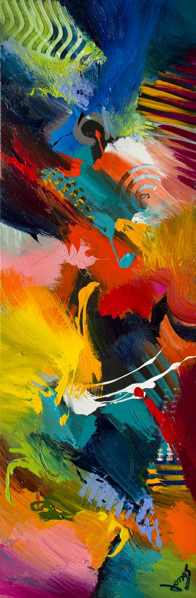 Effervescence II - acrylic on canvas, 20 x 60 inches. Original abstract painting by Jonas Gerard.