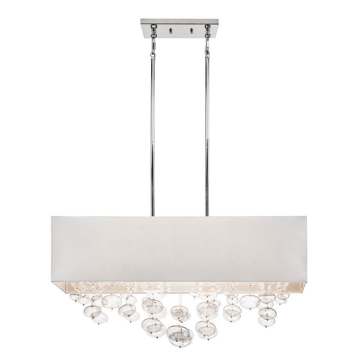 Piatt Chrome Six Light Chandelier Rectangular Pendant Drum Pendant Lighting Ceiling Light