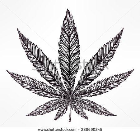 Konope Cannabis Leaf vo vrcholnom lineárnym štýle.  Marihuana siluetu clip art.  Koncept design, elegantný tetovanie umelecké diela.  Izolované vektorové ilustrácie.  - Vybrať