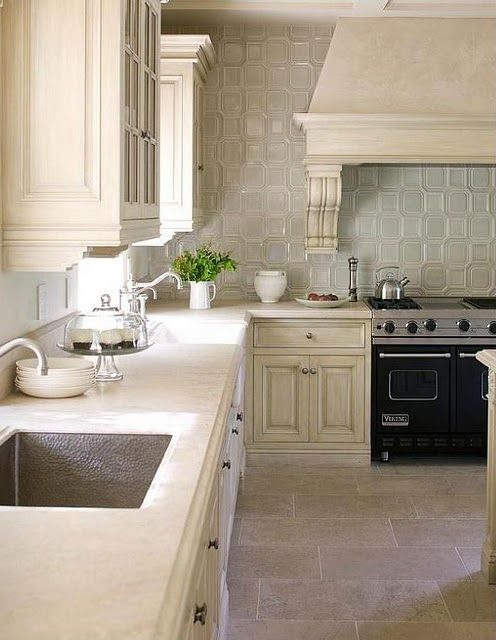 Cream Cabinets Pale Green Tile Love The Whole Wall Open With No Upper  Cabinets And Just