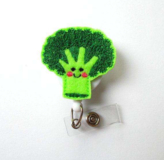 Brenda the Broccoli Spear  ID Felt Badge Holder  Funny Badge